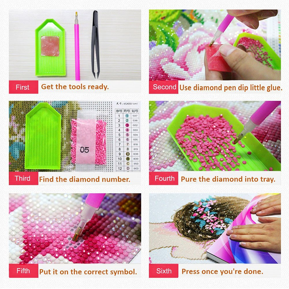 Jatidne DIY Diamond Painting Accessories Full kit Diamond Art Tool with Diamond Embroidery Box for Diamonds Earrings Beads Necklace