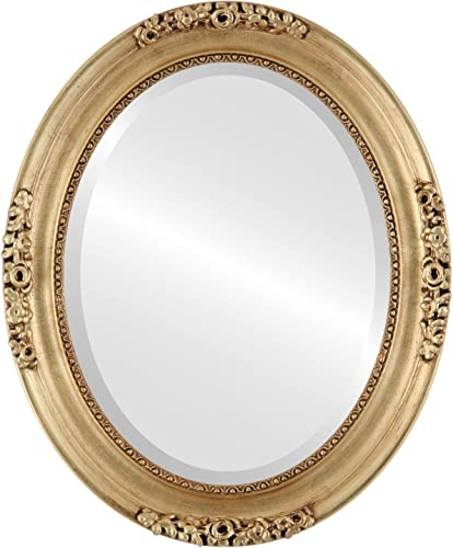Oval Beveled Wall Mirror for Home Decor – Versailles Style – Gold Leaf – 24×28 Outside Dimensions