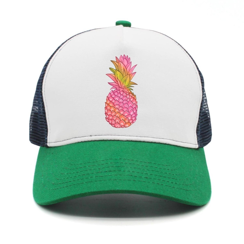 GCUPOI LMER Adult Pink Pineapple Mesh Football Visor Cap Black