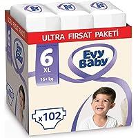 Evy Baby Bebek Bezi 6 Beden Ekstra Large Ultra Fırsat Paketi, 102 Adet