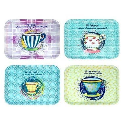 CAPRILO Set de 4 Bandejas Decorativas Rectangulares de Plástico Tazas Té. Menaje de Cocina.