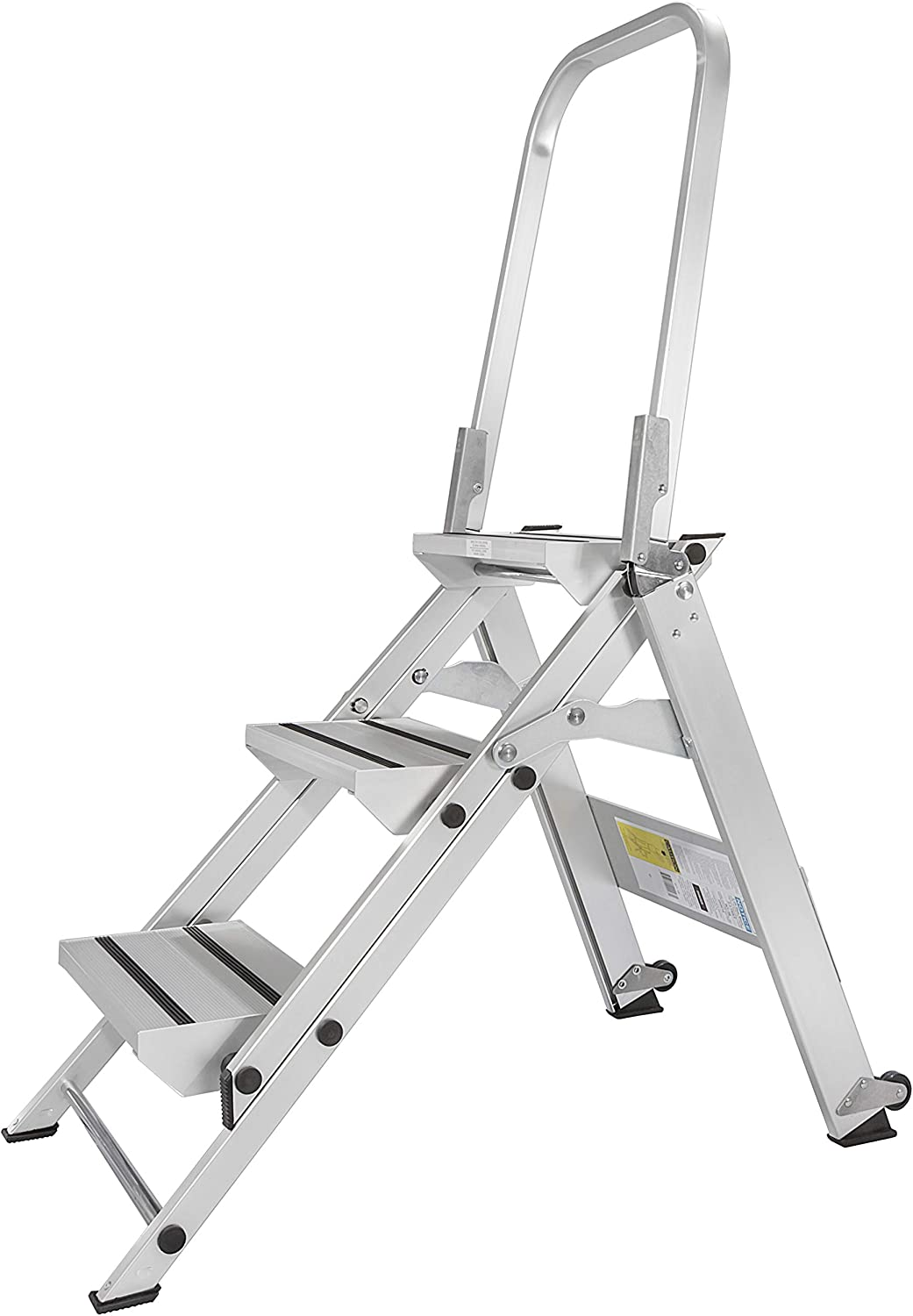 Core Distribution Xtend Climb WT3 Contractor Series Folding Stool with Handrail, 3-Step, Aluminum