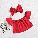 Newborn Baby Girls Off Shoulder Halter Ruffles Boho Blouse top + Bandage Headband Outfit Set