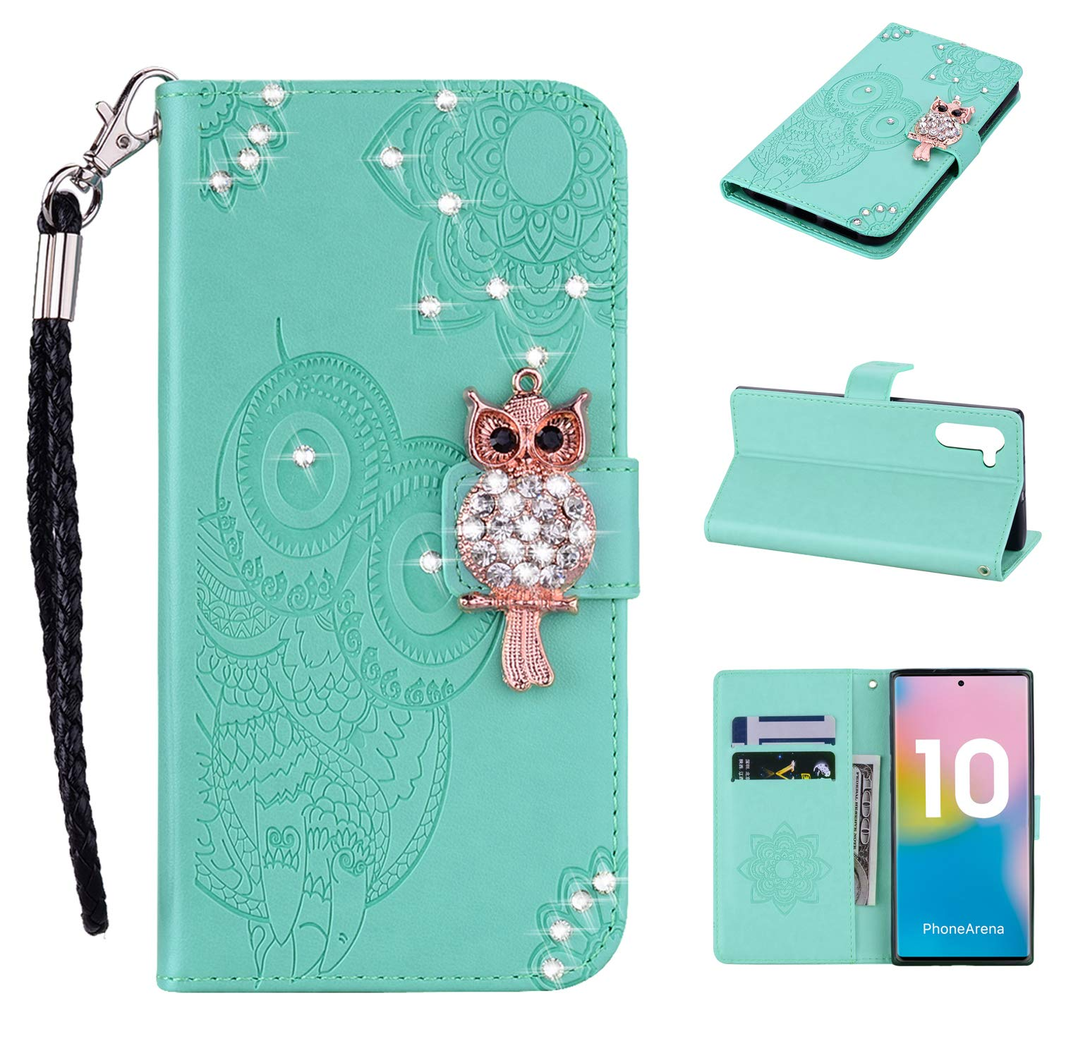 Amocase Wallet Case with 2 in 1 Stylus for Samsung Galaxy Note 10/Note 10 5G,3D Bling Gems Owl Magnetic Mandala Embossing Premium Strap PU Leather Card Slot Stand Case - Mint Green by Amocase