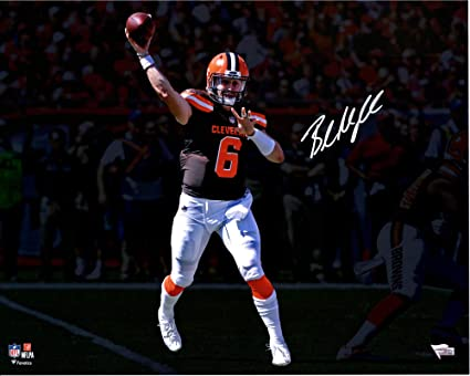 Baker Mayfield Cleveland Browns Autographed 16 quot  x 20 quot  Brown  Throwing Photograph - Fanatics Authentic 4c4afd06f