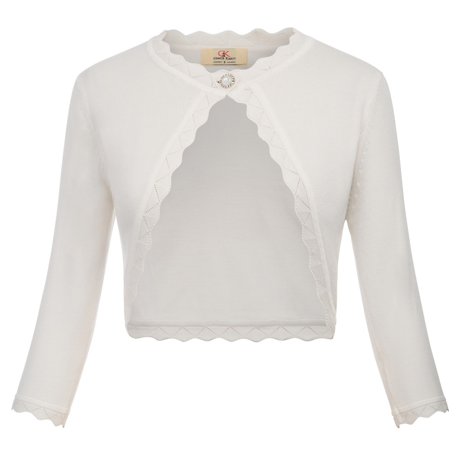 294470df4 GRACE KARIN Women s Classic 3 4 Sleeve Open Front Knit Cropped Bolero  Cardigan product image