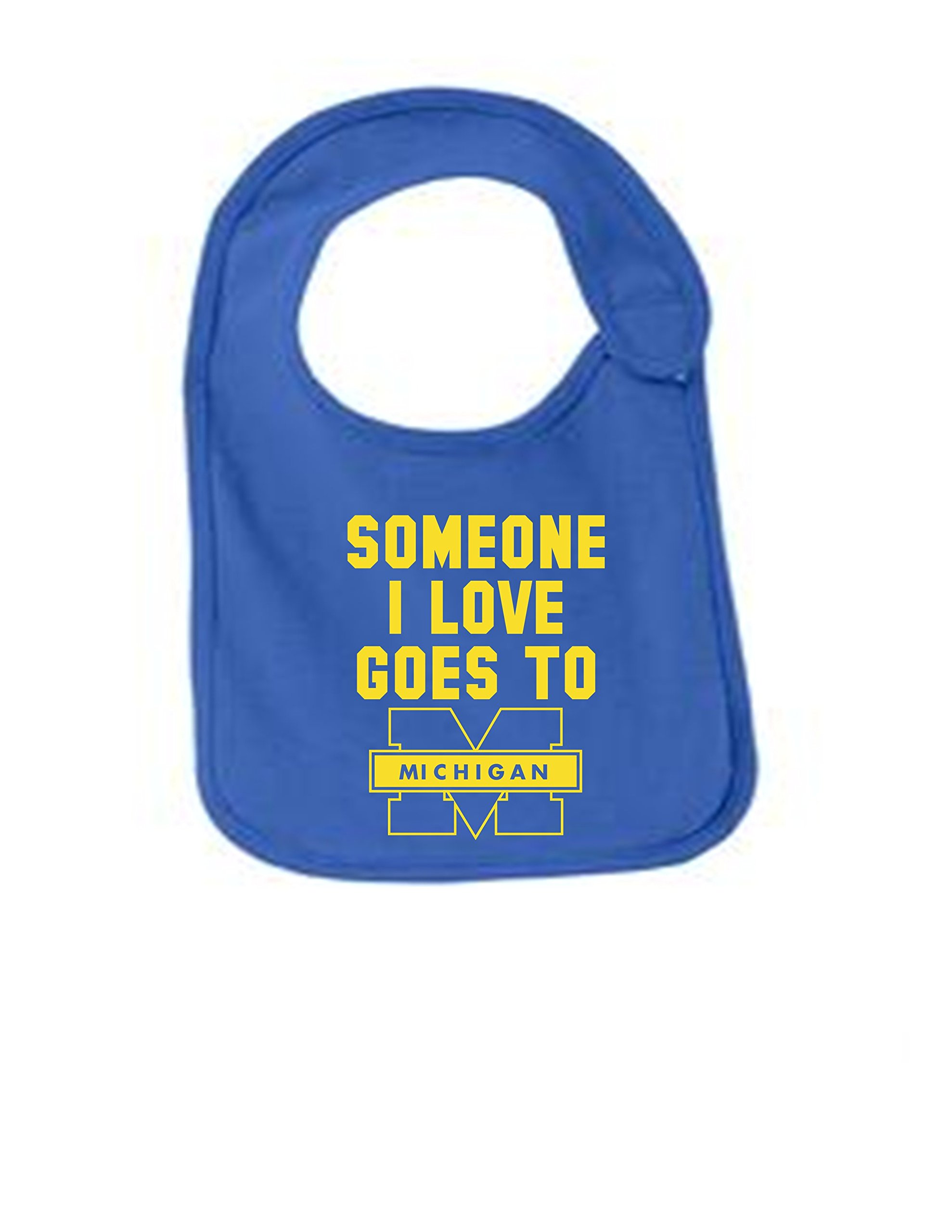 Michigan Someone I Love Funny Infant Jersey Bib Royal One Size