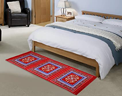 Home Elite Abstract Polyester Bedside Runner - 24x74, Red