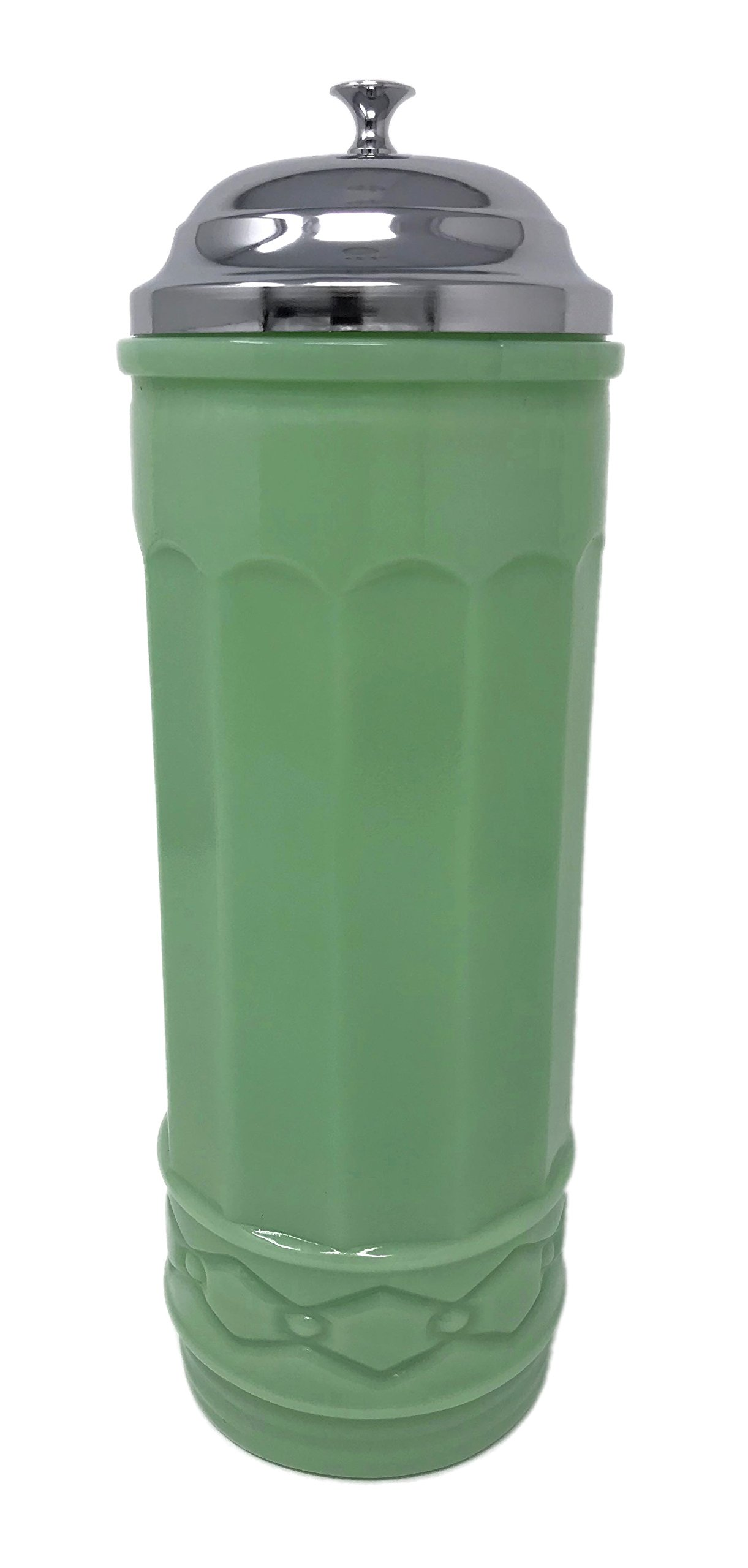 Rhyne and Son Straw Dispenser Holder with Metal Lid Reproduction Glass (Jadeite) by Rhyne and Son
