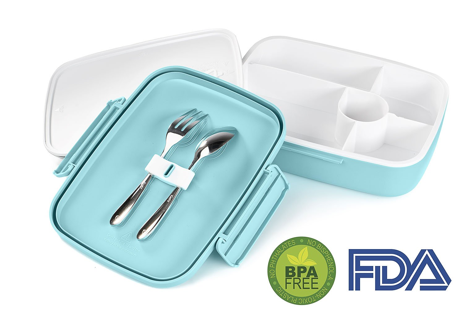 LS LifeStyle Bento Lunch Box 5 Compartments For Kids, Adults Leakproof, Microwave and Dishwasher Safe, BPA Free Container (Fork + Spoon included) (Blue)