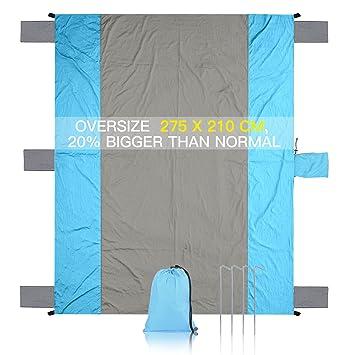 MAIKEHIGH Compacto Grande Secado rápido Ligero Durable Parachute Nylon Al Aire Libre Manta de Playa Picnic Resistente a la Arena De Gran tamaño 213 x 275 ...