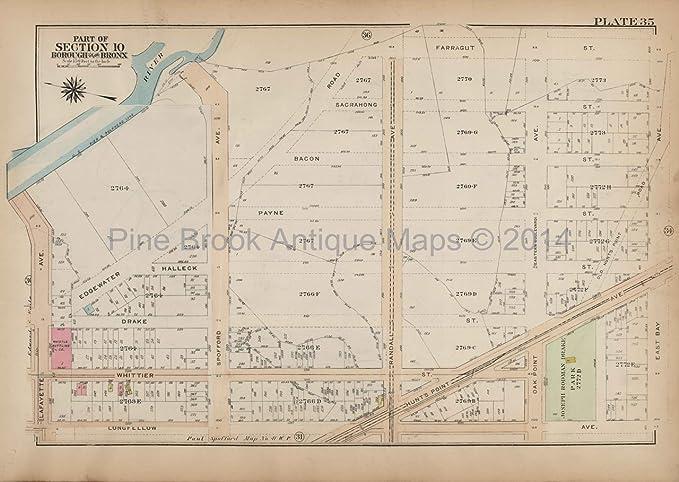Map Of New York Bronx.Bronx River Bronx Antique Map New York City Bromley 1921 Original