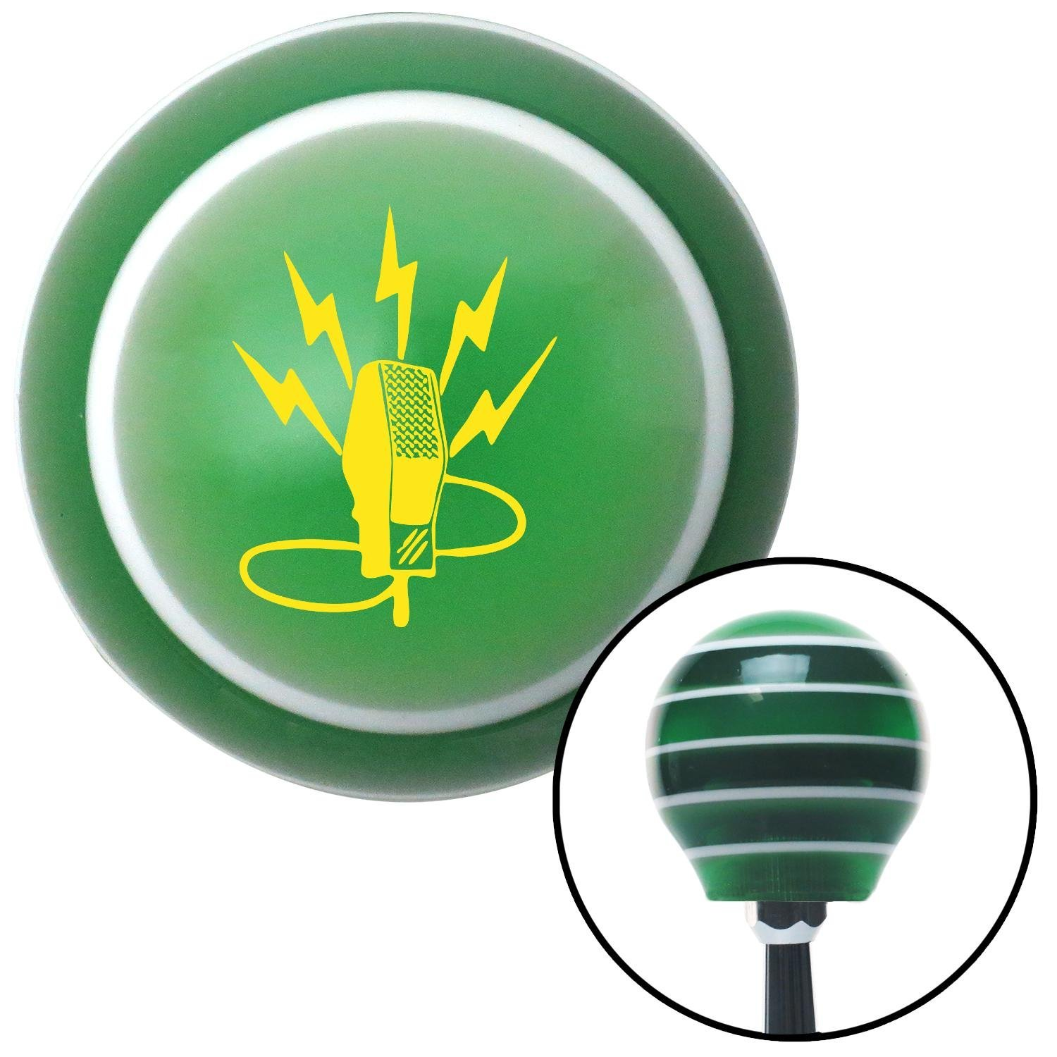 Yellow Microphone Energy American Shifter 125529 Green Stripe Shift Knob with M16 x 1.5 Insert