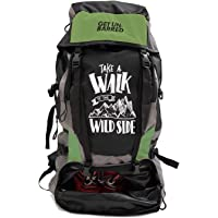 Mufubu Presents Get Unbarred 55 LTR Rucksack for Trekking, Hiking with Shoe Compartment (Black/Green)
