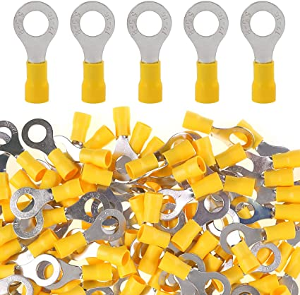 100 Yellow 10-12 Gauge Vinyl Insulated Ring Terminals #10 Stud Made in the USA