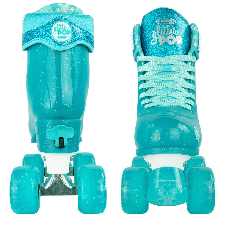 Crazy Skates Glitter POP Adjustable Roller Skates for Girls and Boys   Size Adjustable Quad Skates That Fit 4 Shoe Sizes   Teal (Sizes jr12-2) by Crazy Skates (Image #9)