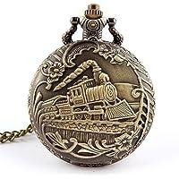 Profusion Circle Retro Hollow Steam Train Antique Style Quartz Pocket Watch Necklace Gift