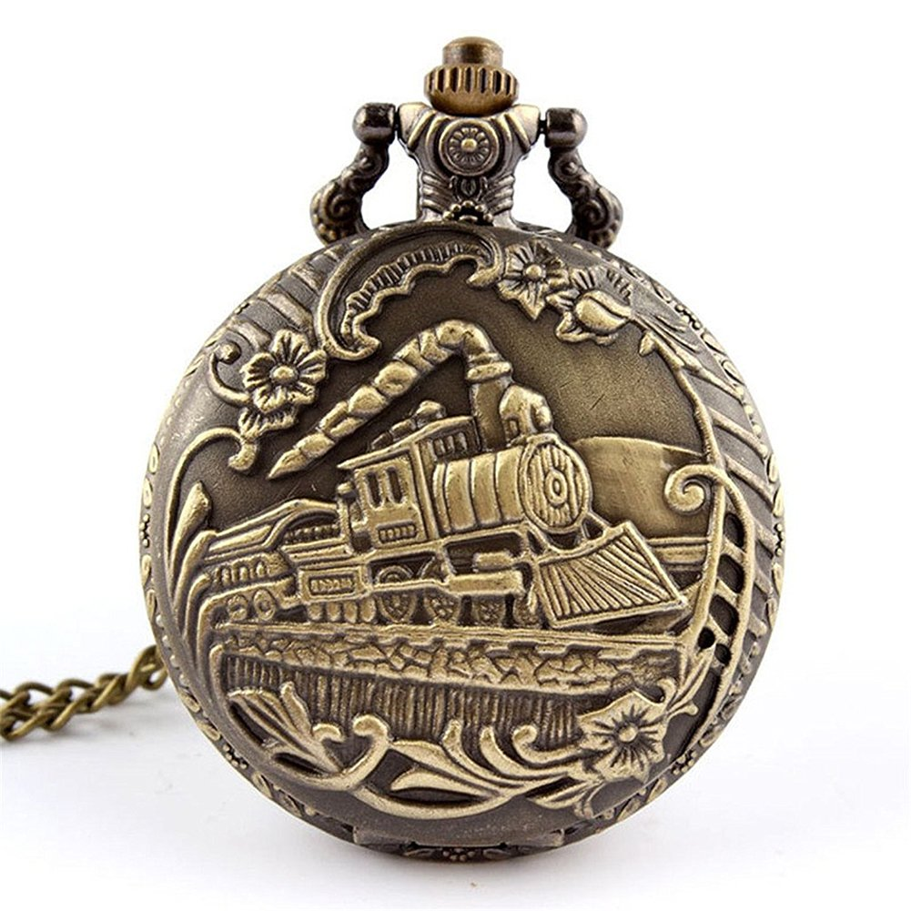 GlobalDeal Unisex Antique Case Vintage Brass Rib Chain Train Pattern Quartz Pocket Watch (A)
