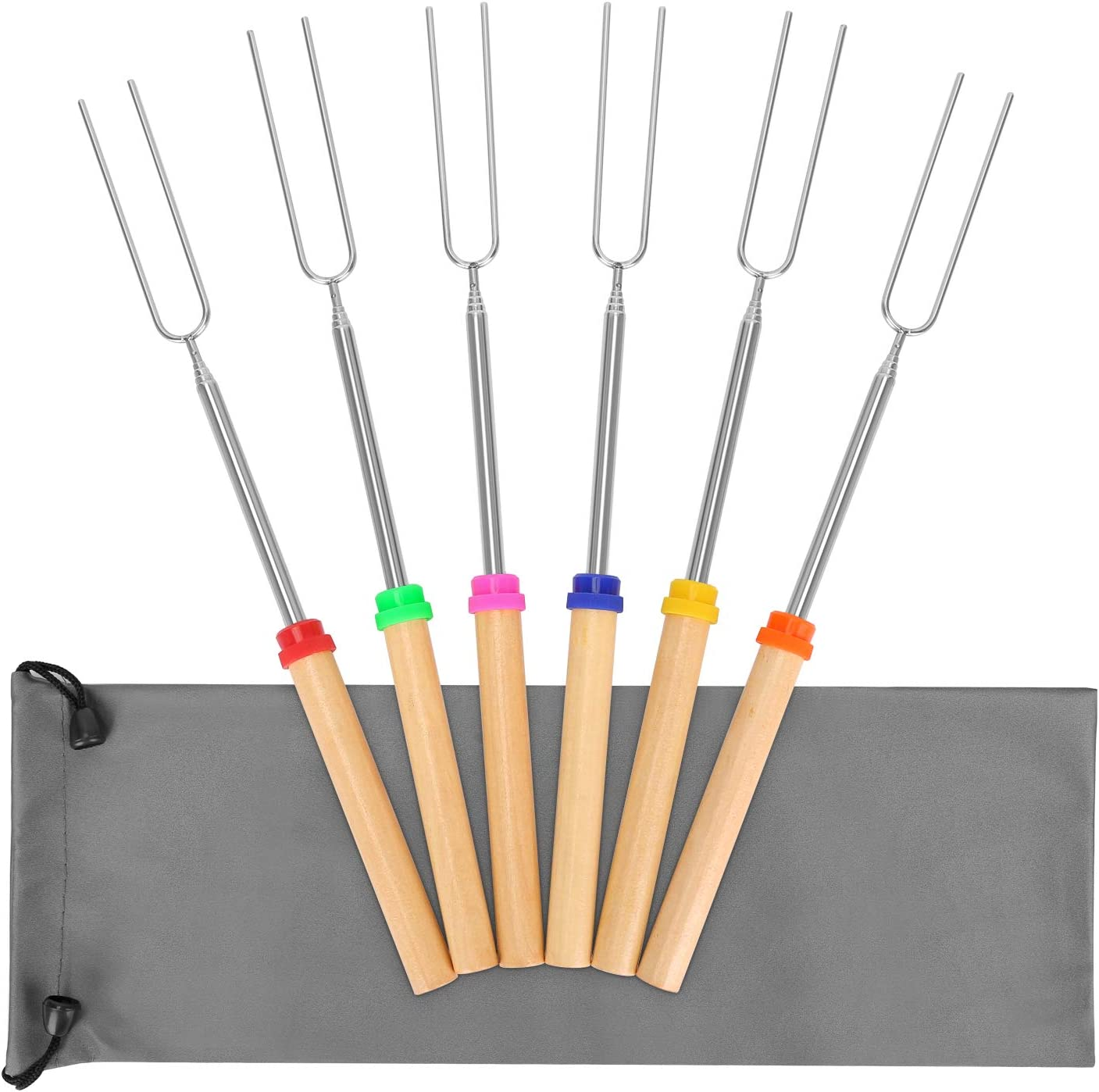 Kelfuoya Marshmallow Roasting Sticks 6 Pcs Smores Skewers Barbecue Forks 32inch Wooden Handle Telescoping Hot Dog Forks with Portable Bags