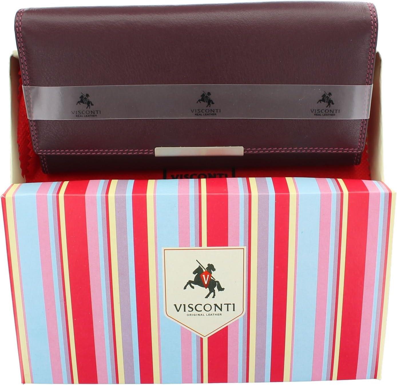 Visconti Soft Leather Rio Ladies Purse Style RFID Blocking R11 Plum Multi