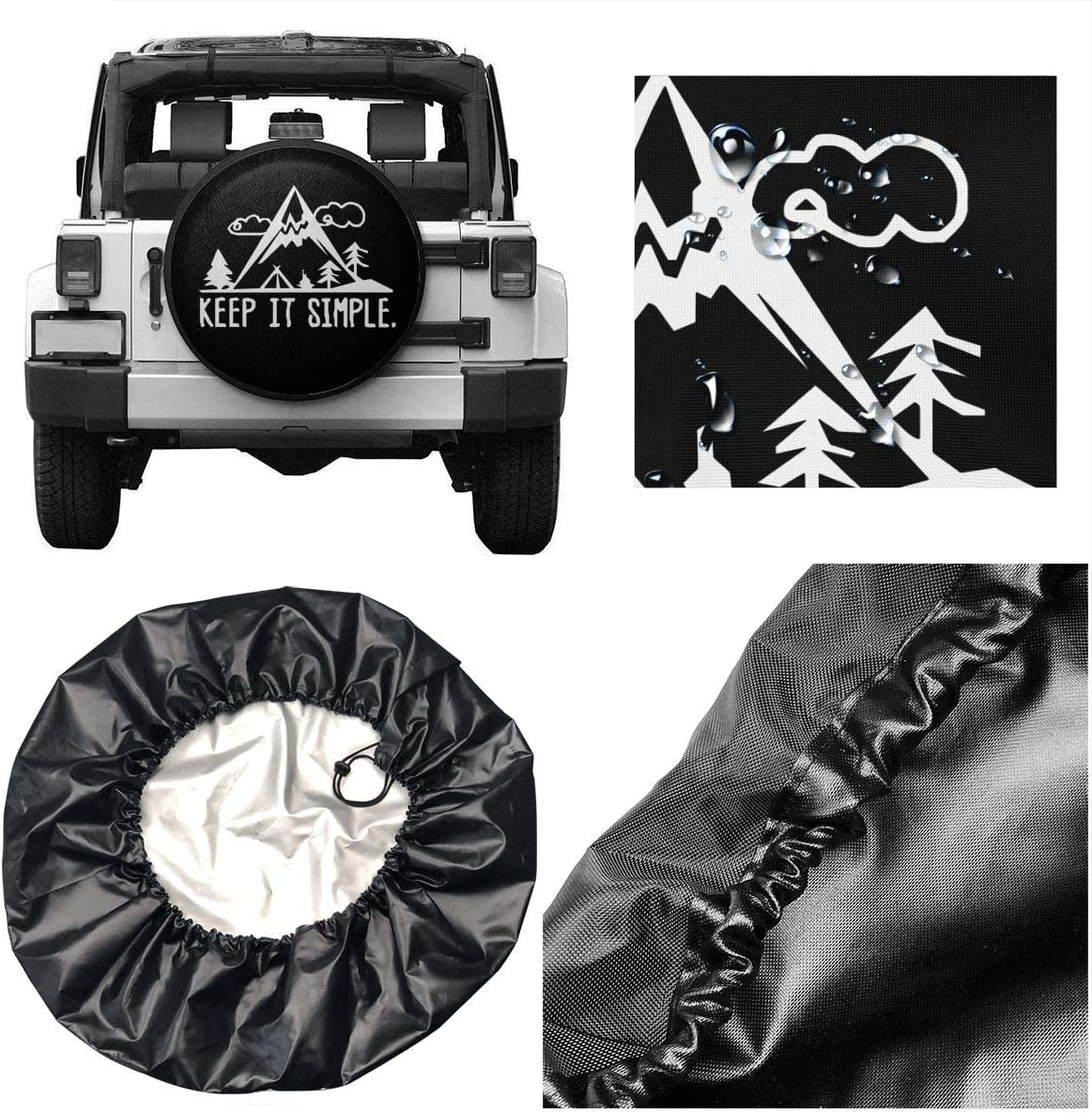 Juhucc I Go Where Im Towed Spare Tire Cover Potable Universal Wheel Covers Powerful Waterproof Tire Cover 14-17 in