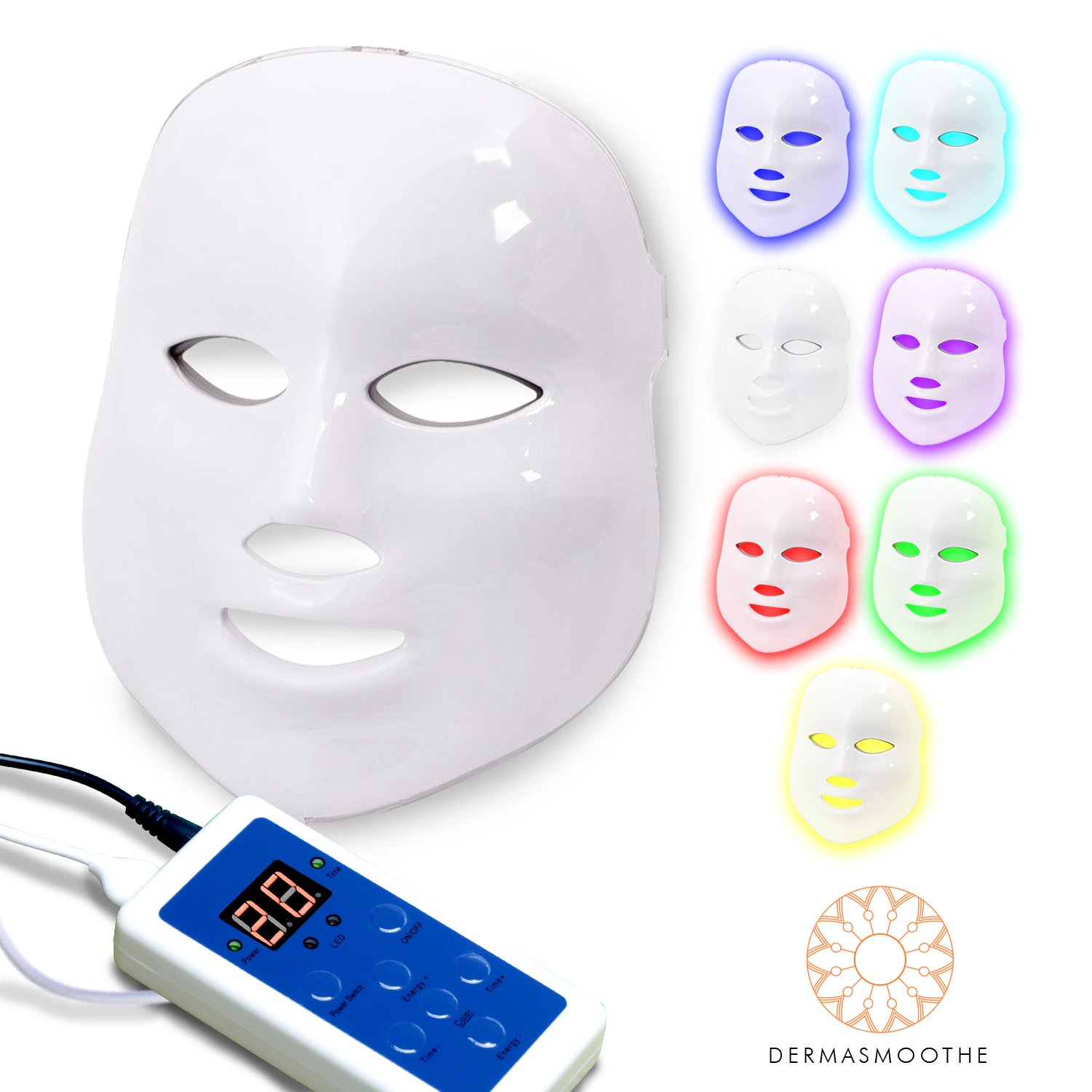 Dermasmoothe Pro 7 Color Led Face Mask | Photon Red Light Therapy For Healthy Skin Rejuvenation | Collagen, Anti Aging, Wrinkles, Scarring | Korean Skin Care,... by Dermasmoothe