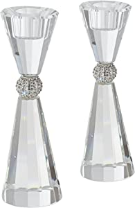 "Studio 55D Stasia 7 1/4"" High Crystal Candle Holders Set of 2"