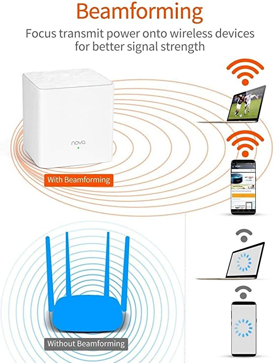 Tenda Nova Mw3 Mesh - AC1200 Router Sistema Wifi De Red En Malla (2 Pack, Dual Banda, Seamless Roaming, Fast Ethernet, Control Parental)