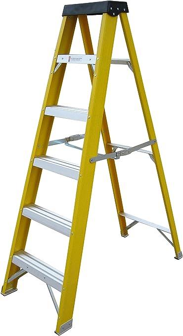 5 + 1 Step Electricistas resistente EN131 escalera de fibra de vidrio 30000 V de fibra de escalera: Amazon.es: Hogar