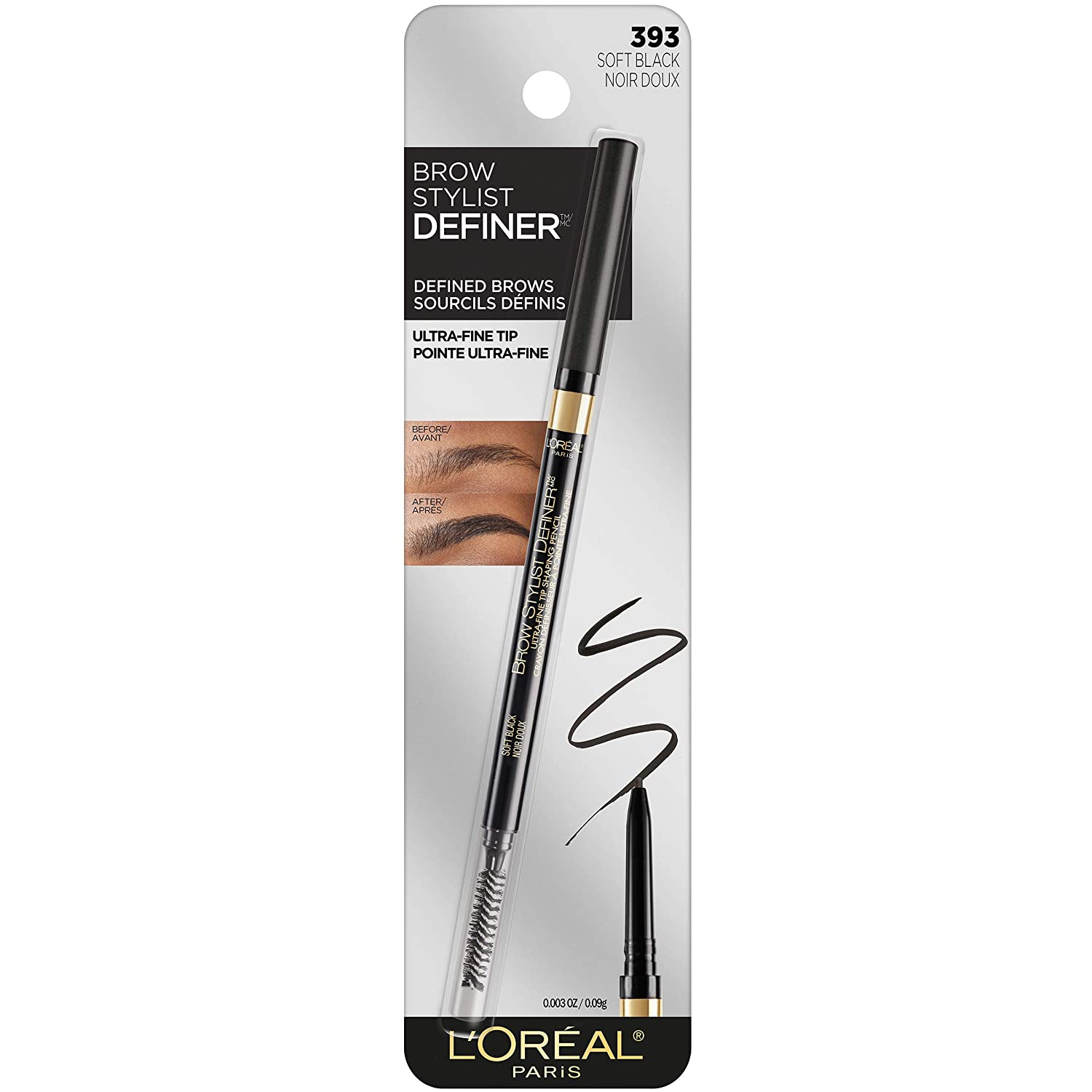L'Oreal Paris Makeup Brow Definer Waterproof Eyebrow Pencil, Ultra-Fine Mechanical Pencil, Draws Tiny Brow Hairs & Fills in Sparse Areas & Gaps, Soft Black, 0.003 Ounce (Pack of 1)