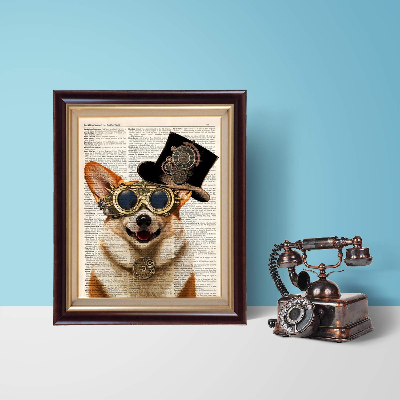 Ihopes Steampunk Dog Vintage Book Art Print 8x10 Unframed