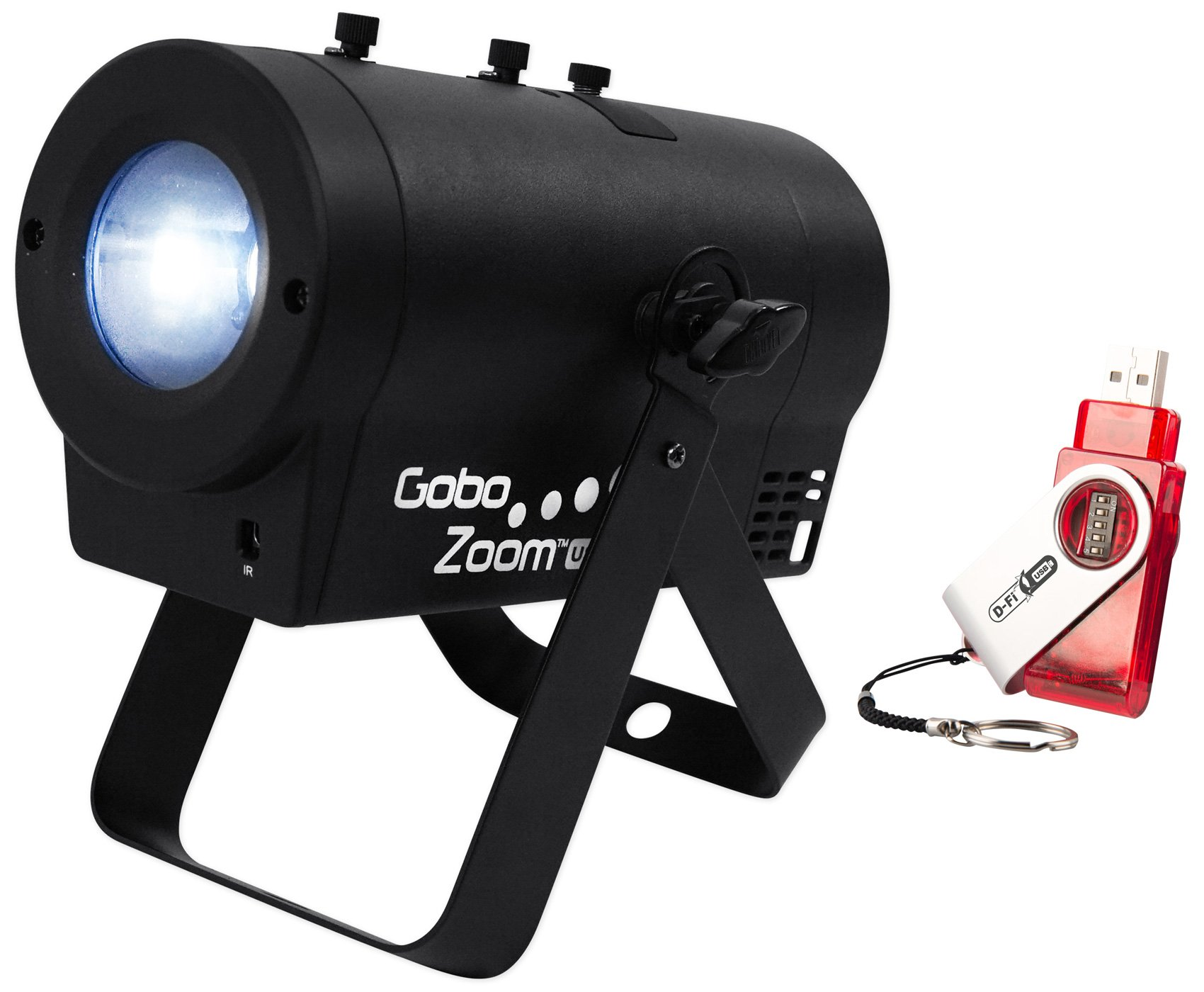 Package: Chauvet DJ Gobo Zoom USB Compact Custom Gobo Projector Light With 10 Wedding Ready Gobos + D-FI USB Ready + Chauvet DJ D-Fi USB Wireless Transceiver Controller For D-Fi Ready Lights