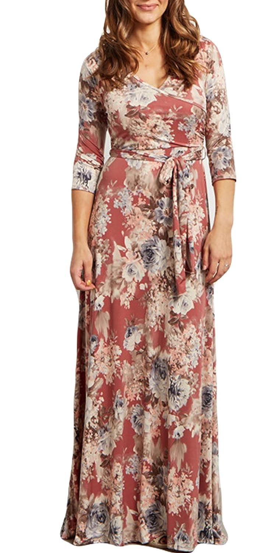 Greenis Summer Women Dress Maxi Elastic Waist Printed With Belt V Neck