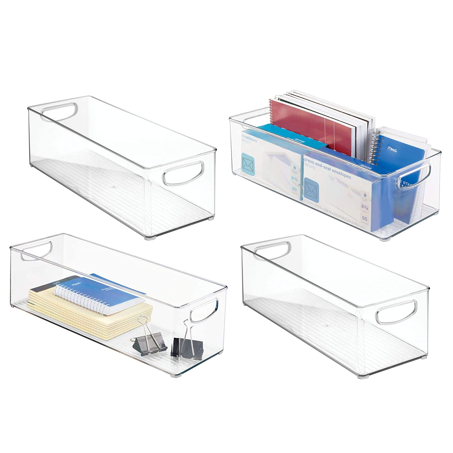 mDesign Office Supplies Desk Organizer Bin for Rulers, Notepads, Markers, Pencils - Pack of 2, Large, Clear MetroDecor 3551MDO