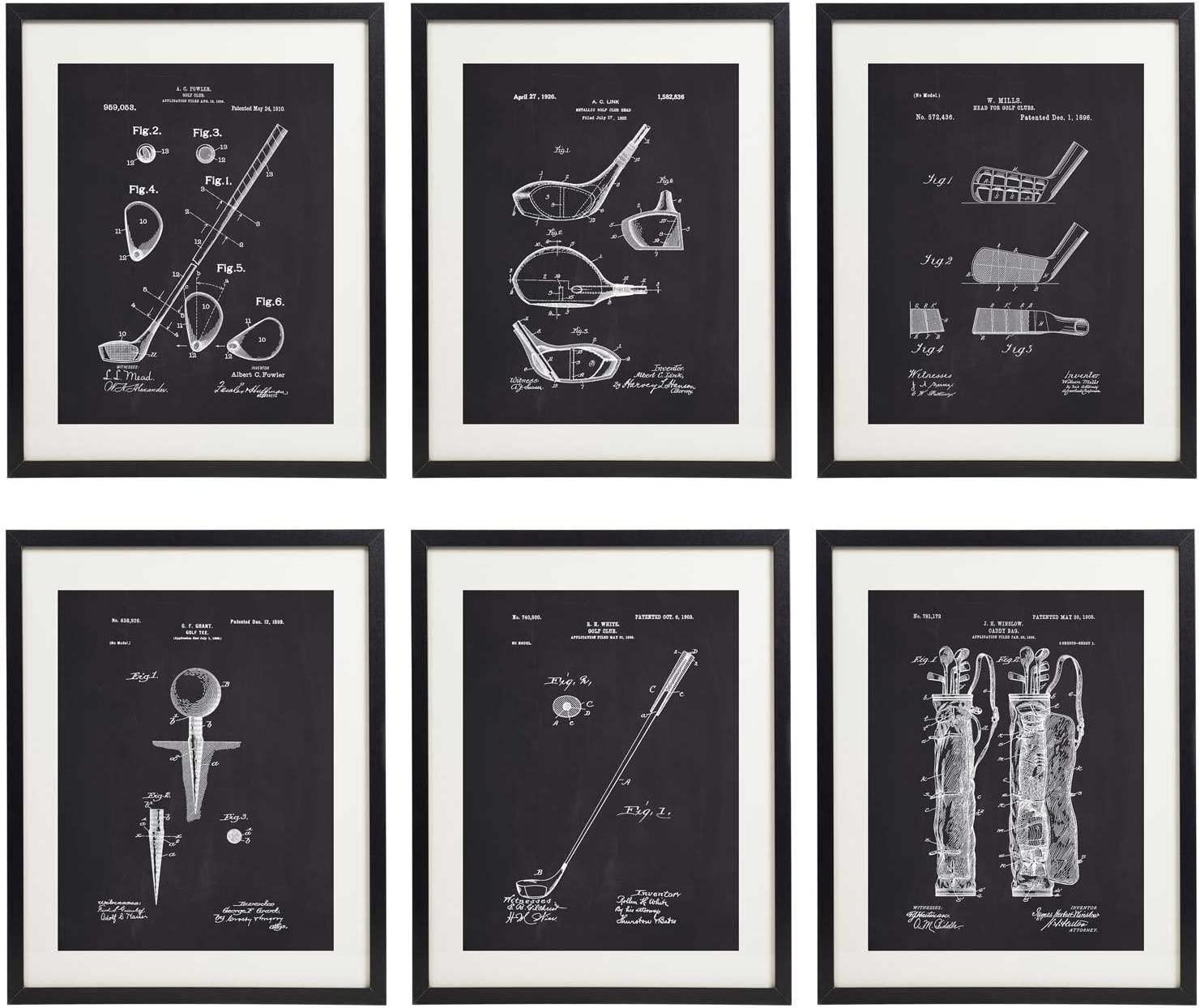 IDIOPIX Golf Patent Prints Home Decor Art Print Set of 6 Prints UNFRAMED No.1