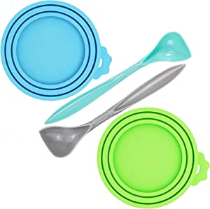 WOHENI 2 Pack Pet Food Can Cover, Universal Silicone Cat Dog Food Can Lids 1 Fit 3 Standard Size Can Tops, Fits Most Standard Size Dog and Cat Can Tops with 2 Spoons (Green, Blue)