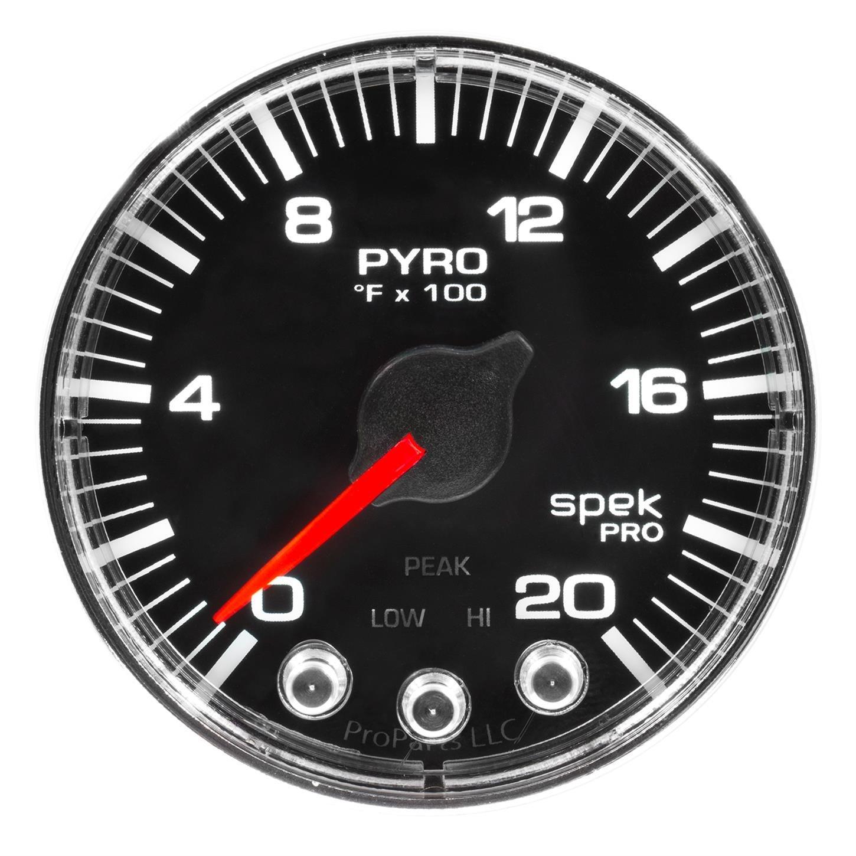 Auto Meter P310318 Gauge, Pyro. (Egt), 2 1/16'', 2000ºf, Stepper Motor W/Peak & Warn, Blk/Chrm, Spek-Pro