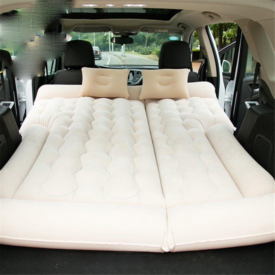 STAZSX Auto-Bett-Auto-Matratze Universal Auto aufblasbares Bett, SUV Beige-135x78CM