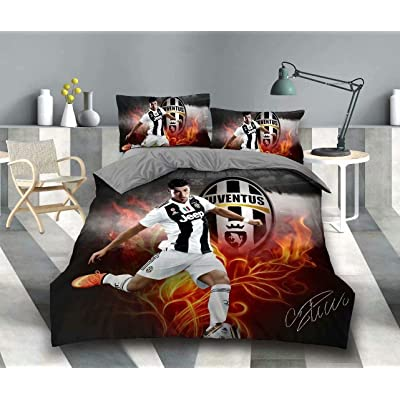 Vampsky Juventus Football Club Cristiano Ronaldo Teenagers Idol Household Bedding 3 Piece Set With Zipper Closure, 100% Microfiber Football Star 3D Print 1 Duvet Cover 2 Pillow Shams Christmas Bedding: Kitchen & Dining