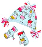Girls Official Peppa Pig Fleece Hat & Mittens Winter Set Turquoise sizes from 1 to 6 Years