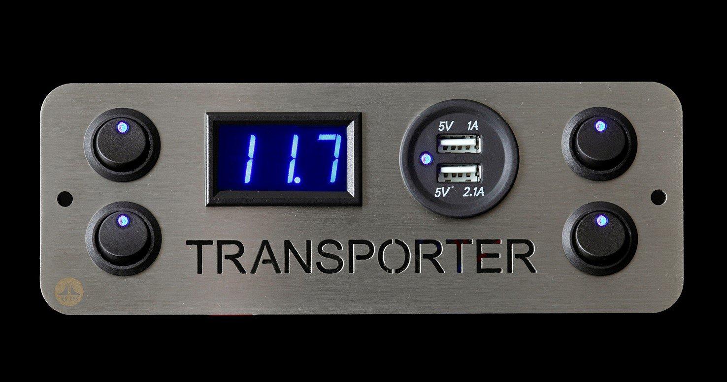 Lek Tek Voltmètre USB 2.1 A avec 4 interrupteurs pour VW Transporter, Camper Van