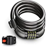 Bike Lock Cable, Resettable 4-Feet Security Cable Lock Combination Self Coiling Bicycle Lock Cable with Complimentary Mounting Bracket, 4 Feet x 1/2 Inch By ROADWI