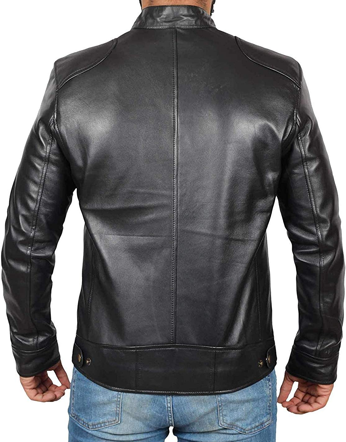 Mens Leather Jacket Real Lambskin Motorcycle Jacket for Men at  Men's Clothing store