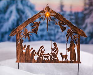 Evergreen Garden Beautiful Decorative Seasonal Illuminated Nativity Solar Garden Stake - 23 x 1 x 28 Inches Fade and Weather Resistant Indoor/Outdoor Decoration for Homes, Yards and Gardens