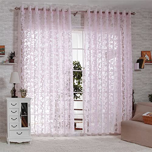 R.LANG Solid Grommet Top Modern Embroidered Sheer Curtain 1 Pair Pink 66 W X 90 L