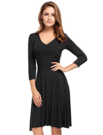 Meaneor Womens 3/4 Sleeve Black Dress V-Neck Casual Cocktail Dress