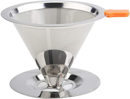 Stainless Steel Coffe Pour Over Mesh Dripper Cone Filter Holder Maker Infuser