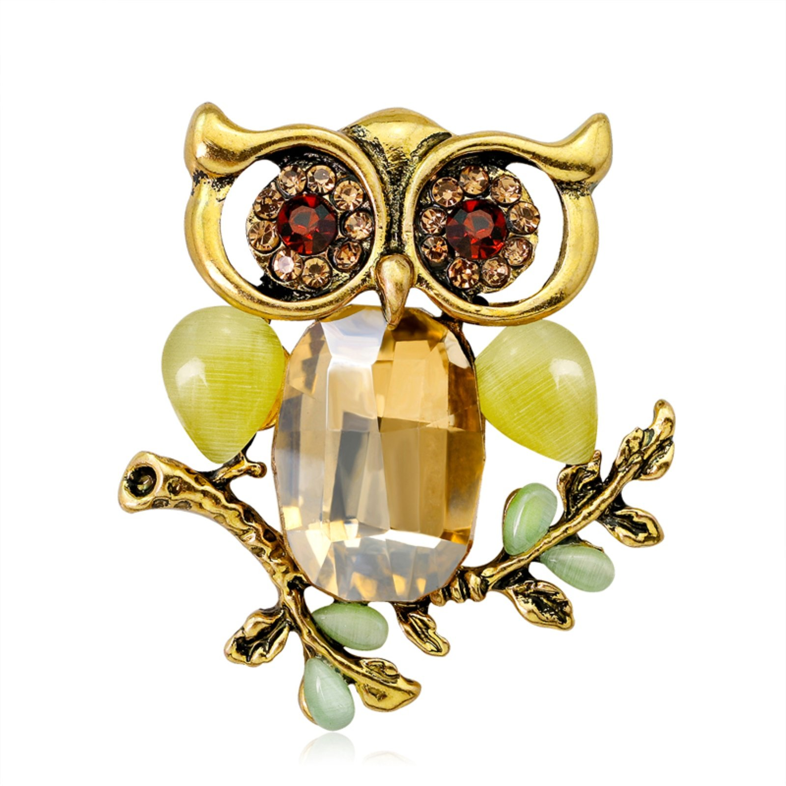 ptk12 Big Green Eyes Owl Brooch Pin Antique Colorful Animal Bird Brooches Pins Dress Accessories