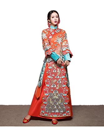 Amazon Com Show Wo Dress Mandarin Jacket Chinese Wedding Dress