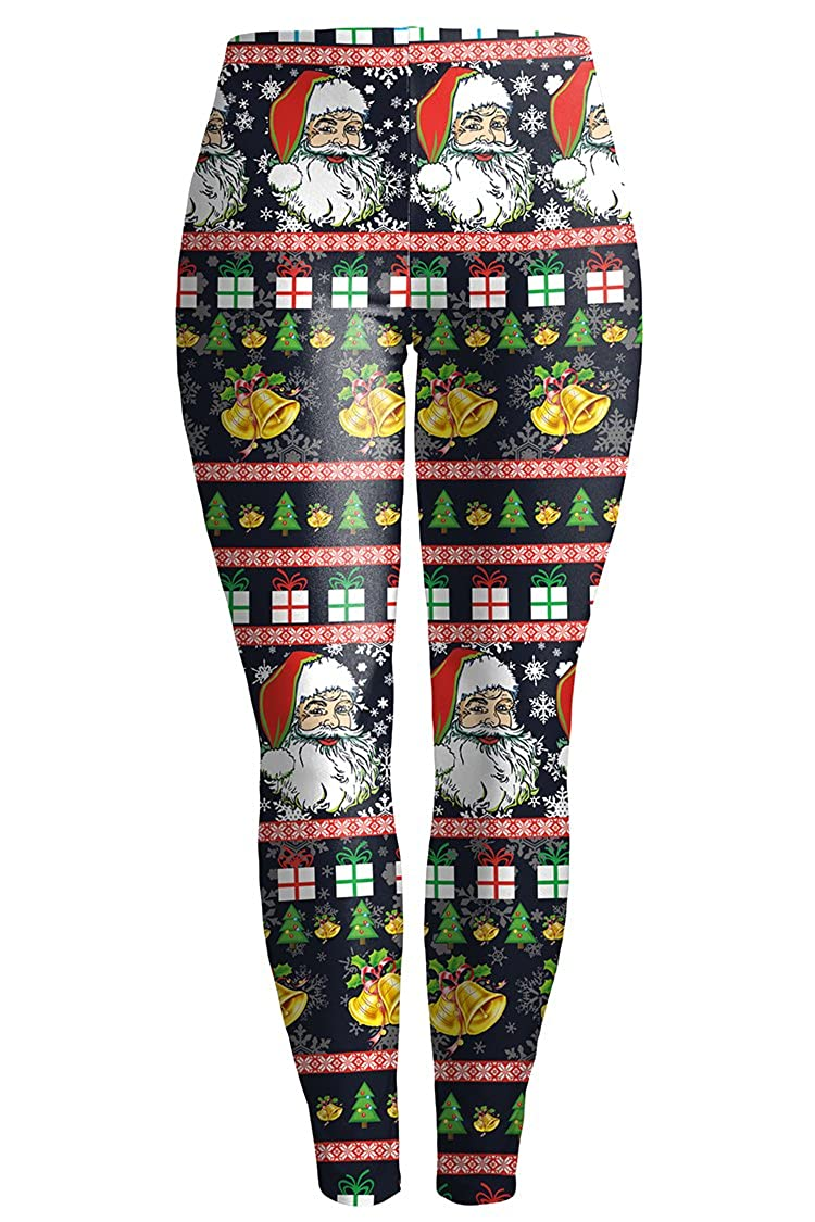 Pattern1 Meenew Women's Digtal Print Funny Chritsmas Leggings Stretchy Active Tights